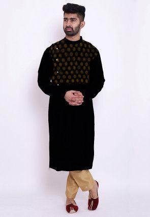 Hand Block Printed Rayon Kurta Set in Black