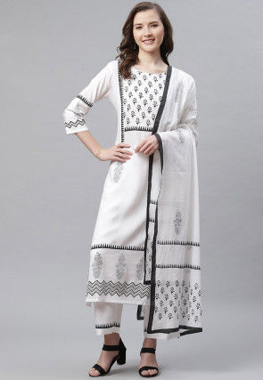 Hand Block Printed Rayon Pakistani Suit in Off White