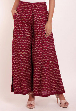 Foil Printed Rayon Palazzo in Wine