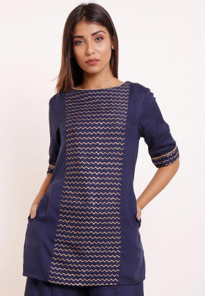 Foil Printed Rayon Tunic in Navy Blue