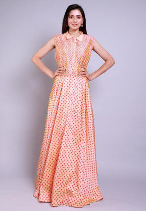 Hand Block Printed Taffeta Silk Gown in Peach