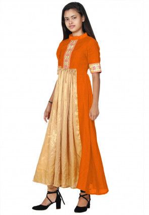 Hand Embroide Neckline Georgette A Line Kurta Set in Beige and Orange