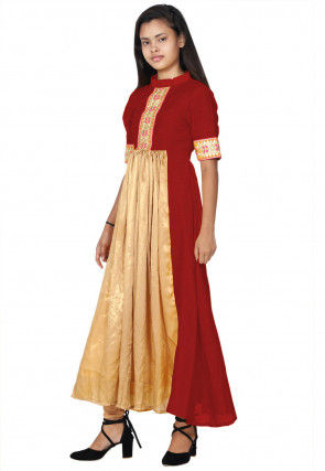 Hand Embroide Neckline Georgette A Line Kurta Set in Beige and Red