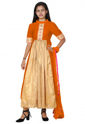 Hand Embroide Neckline Georgette A Line Suit in Beige and Orange