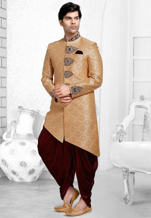 Hand Embroidered Art Brocade Silk Dhoti Sherwani in Beige