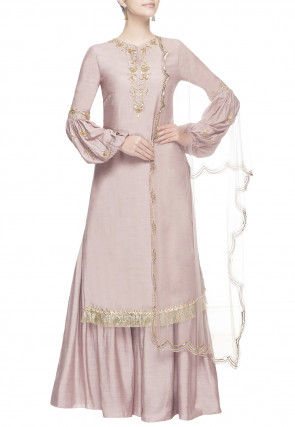 Hand Embroidered Art Chanderi Silk Pakistani Suit in Old Rose