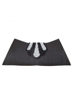 Hand Embroidered Art Dupion Silk Envelope Clutch Bag in Charcoal