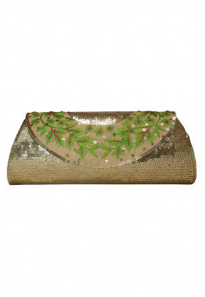 Hand Embroidered Art Jute Silk Envelope Clutch Bag in Beige