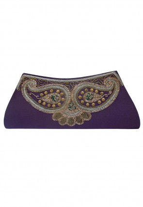 Hand Embroidered Art Jute Silk Envelope Clutch Bag in Purple