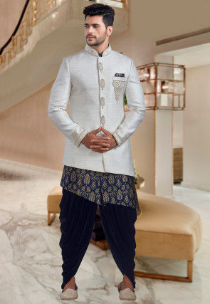 Hand Embroidered Art Jute Silk Jodhpuri Suit in Cream