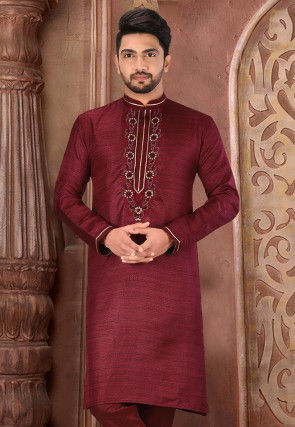 Hand Embroidered Art Matka Silk Kurta in Maroon
