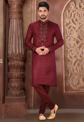 Hand Embroidered Art Matka Silk Kurta Set in Maroon