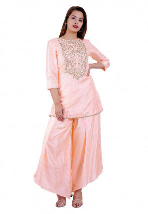 Hand Embroidered Art Silk A Line Kurti in Baby Pink