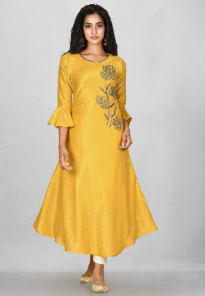 Hand Embroidered Art Silk A Line Suit in Mustard