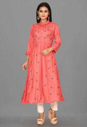 Hand Embroidered Art Silk A Line Suit in Peach