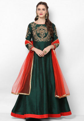 Hand Embroidered Art Silk Abaya Style Suit in Dark Green
