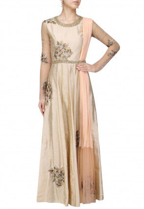 Hand Embroidered Art Silk Abaya Style Suit in Light Beige