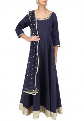 Hand Embroidered Art Silk Abaya Style Suit in Navy Blue