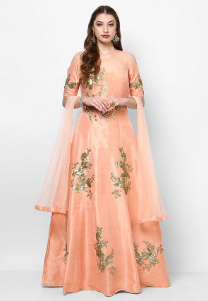 Hand Embroidered Art Silk Abaya Style Suit in Peach