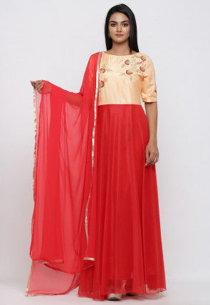 Hand Embroidered Art Silk Abaya Style Suit in Red and Peach