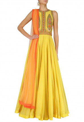 Hand Embroidered Art Silk Abaya Style Suit in Yellow