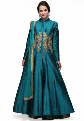 Hand Embroidered Art Silk Anarkali Suit in Teal Blue
