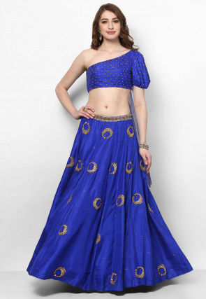 Hand Embroidered Art Silk Asymmetric Crop Top N Skirt in Blue