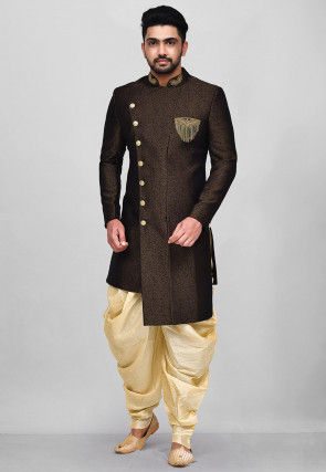 Hand Embroidered Art Silk Asymmetric Dhoti Sherwani in Black