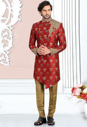 Hand Embroidered Art Silk Asymmetric Sherwani in Maroon