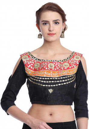 Hand Embroidered Art Silk Blouse in Black