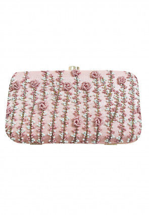 Hand Embroidered Art Silk Box Clutch Bag in Baby Pink