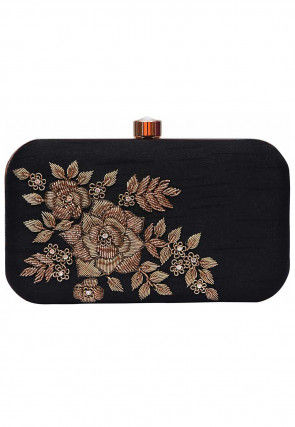 Hand Embroidered Art Silk Box Clutch Bag in Black