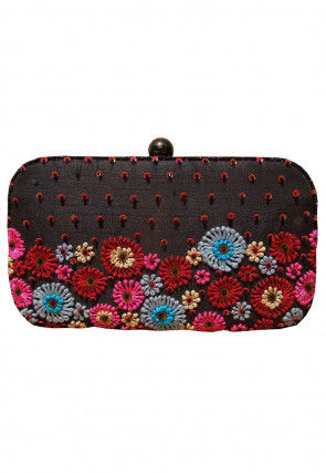 Hand Embroidered Art Silk Box Clutch Bag in Dark Brown