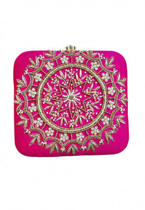 Hand Embroidered Art Silk Box Clutch Bag in Fuchsia