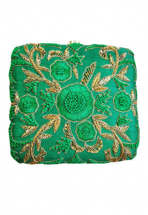Hand Embroidered Art Silk Box Clutch Bag in Green