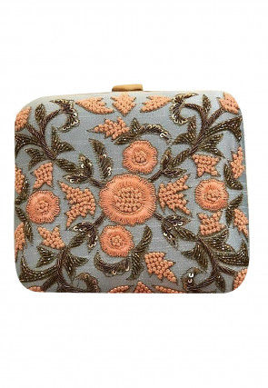 Hand Embroidered Art Silk Box Clutch Bag in Grey and Peach