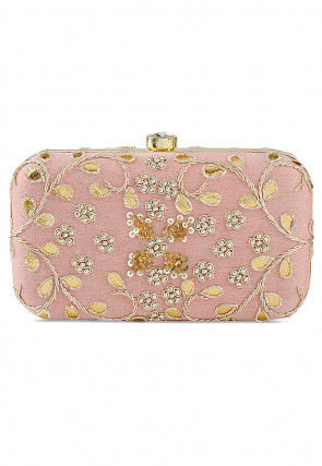 Hand Embroidered Art Silk Box Clutch Bag in Light Pink