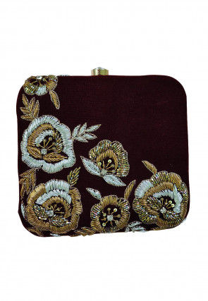 Hand Embroidered Art Silk Box Clutch Bag in Maroon