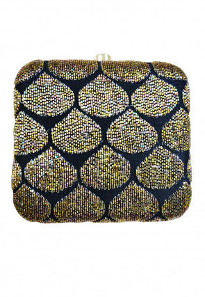 Hand Embroidered Art Silk Box Clutch Bag in Navy Blue