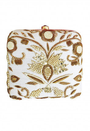 Hand Embroidered Art Silk Box Clutch Bag in Off White