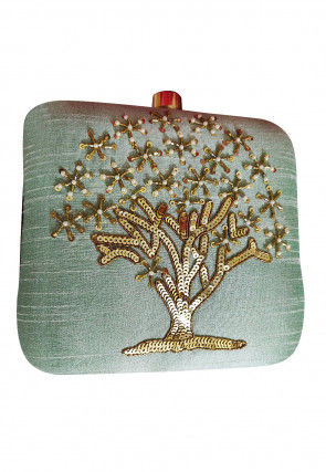 Hand Embroidered Art Silk Box Clutch Bag in Pastel Green