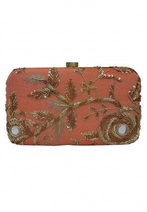 Hand Embroidered Art Silk Box Clutch Bag in Peach