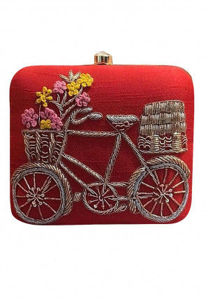 Hand Embroidered Art Silk Box Clutch Bag in Red