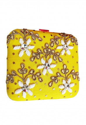Hand Embroidered Art Silk Box Clutch Bag in Yellow
