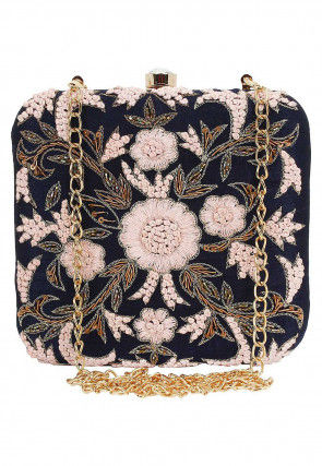 Hand Embroidered Art Silk Box Clutch Cum Sling in Dark Navy Blue