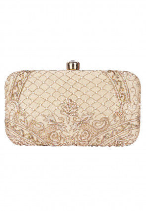 Hand Embroidered Art Silk Box Clutch in Light Beige