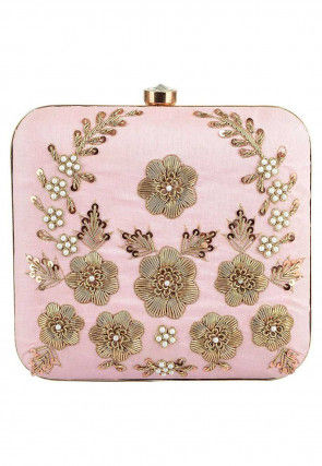Hand Embroidered Art Silk Box Clutch in Light Pink