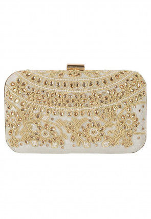 Hand Embroidered Art Silk Box Clutch in Off White