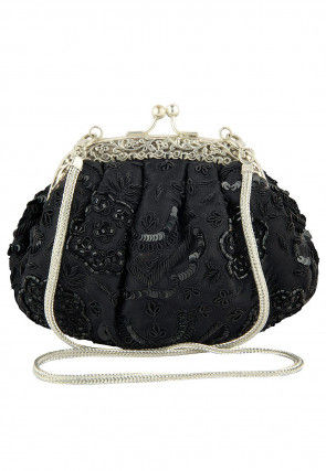 Hand Embroidered Art Silk Brass Frame Batua Clutch in Black