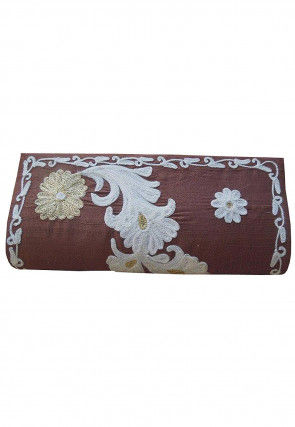 Hand Embroidered Art Silk Clutch Bag in Brown